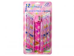 Wholesale 12pc Assorted Pencil Set With Ruler And Sharpener